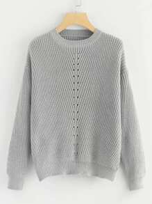 Eyelet Detail Solid Jumper