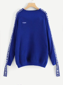 Lettering Sleeve Embroidered Sweater