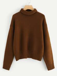 Roll Neck Drop Shoulder Sweater
