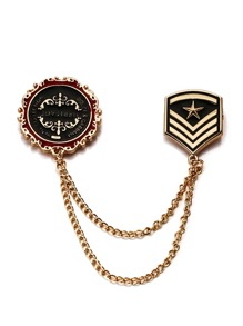Medal Design Collar Clip Chain Brooch