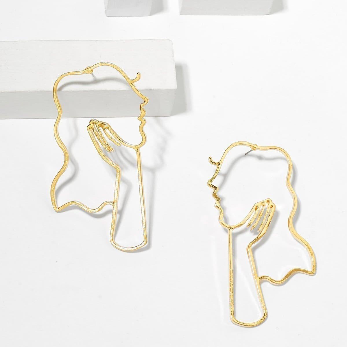 - Hollow Face Design Stud Earrings