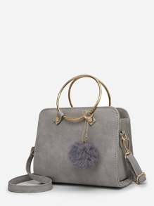 Pom Pom Detail Ring Handle Crossbody Bag