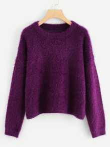 Drop Shoulder Solid Fuzzy Jumper