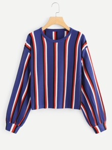 Lantern Sleeve Drop Shoulder Striped Sweater