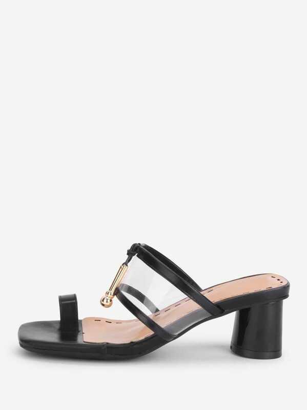 Metal Detail Heeled Sandals Toe Ring OPkZ0n8wXN