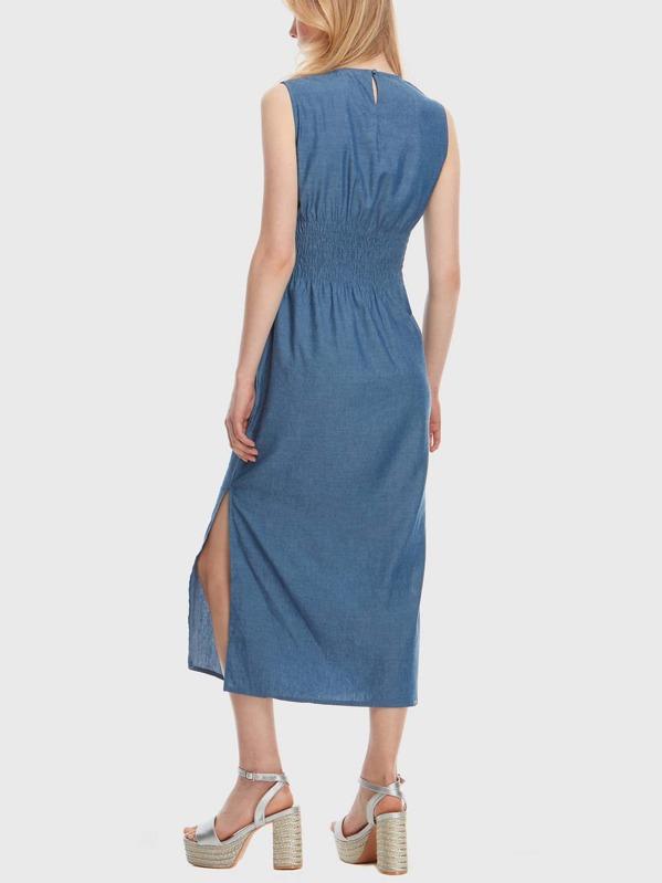 b0eae25ec2 Shirred Back Self Tie Waist Denim Dress