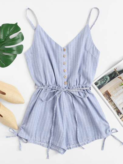 Button Detail Knot Striped Cami Romper