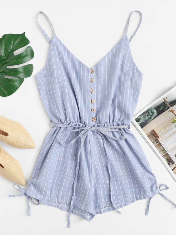 Button Detail Knot Striped Cami Romper by Sheinside