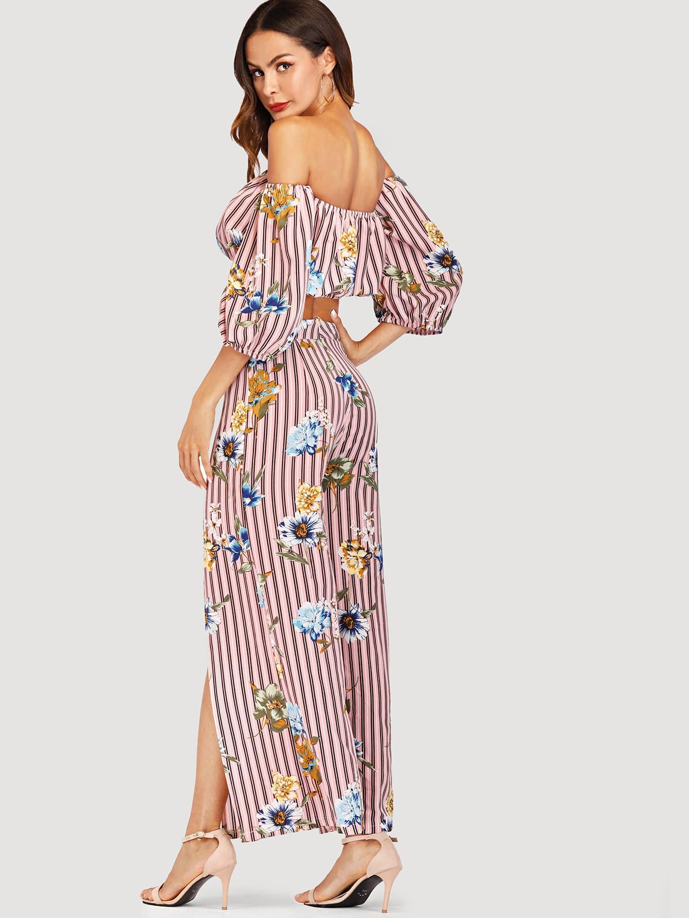 91ffe9ae154924 Off Shoulder Striped Floral Top With Pants