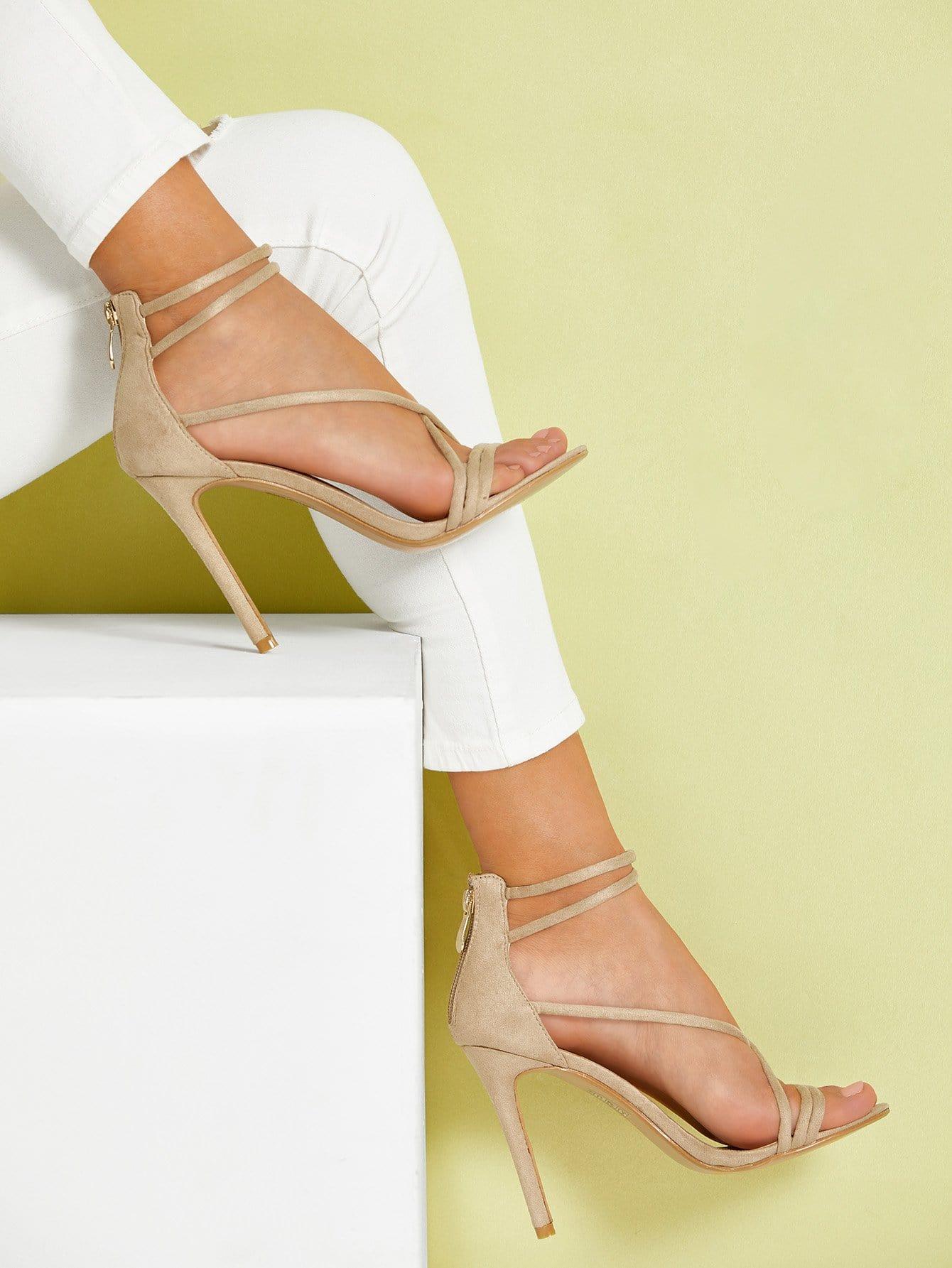 a06c850b6ff Tie Leg PU Stiletto Heels EmmaCloth-Women Fast Fashion Online