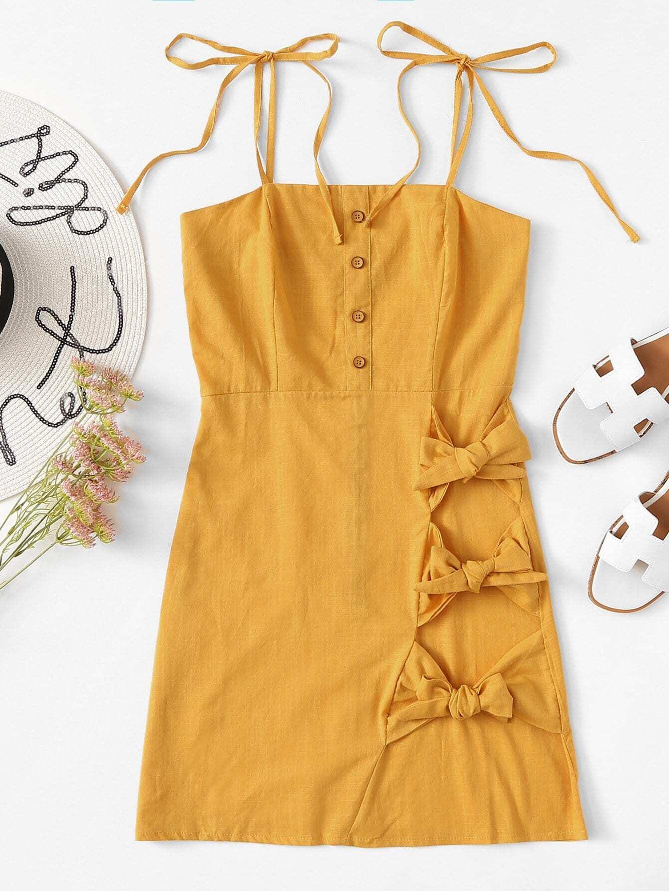 7e31d3b5a32 Bow Tie Side Button Detail Cami Dress EmmaCloth-Women Fast ...
