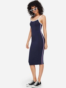 Contrast Striped Side Form Fitting Cami Dress
