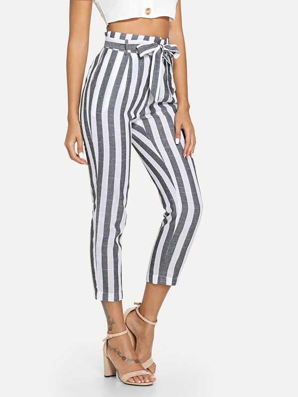 ccae4247c7 Tie Waist Stripe Pants | SHEIN