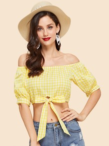 Tie Front Off Shoulder Gingham Top