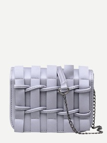 Weave Front Flap Chain Bag
