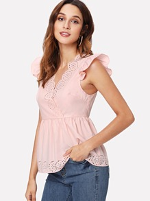 Laser Cut Ruffle Armhole Wrap Top