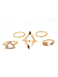 Open Triangle Detail Ring Set 5pcs