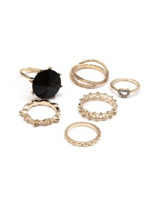 Gemstone Decorated Hollow Ring Set 6pcs