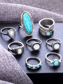 Feather Detail Vintage Ring Set 8pcs
