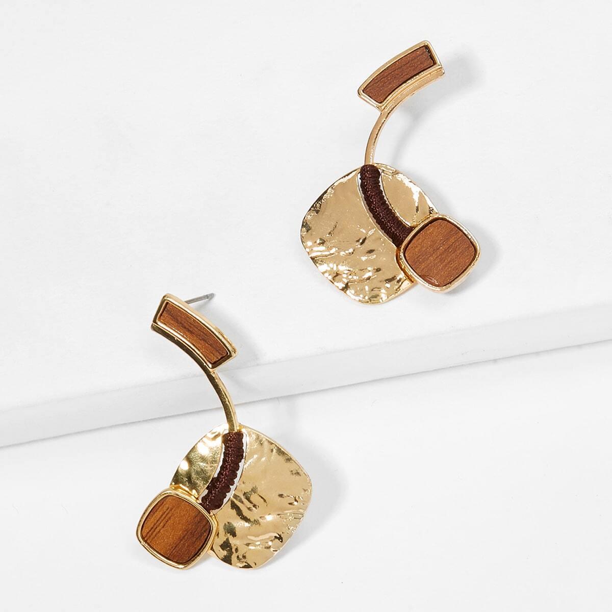 - Two Tone Design Drop Earrings