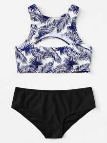 Cutout Front Palm Leaf Print Bikini Set