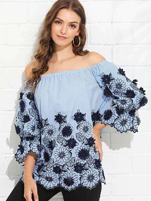 4747e6d9 Cheap Floral Embroidery Striped Bardot Top for sale Australia | SHEIN