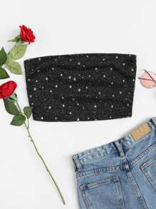 Star Detail Bandeau Crop Top