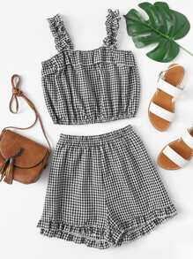Frill Trim Plaid Cami Top With Shorts