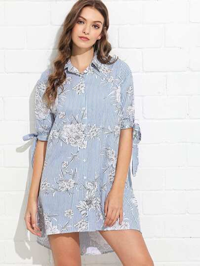 e90f1abdbf Cheap Dip Hem Flounce Striped Shirt Dress for sale Australia | SHEIN