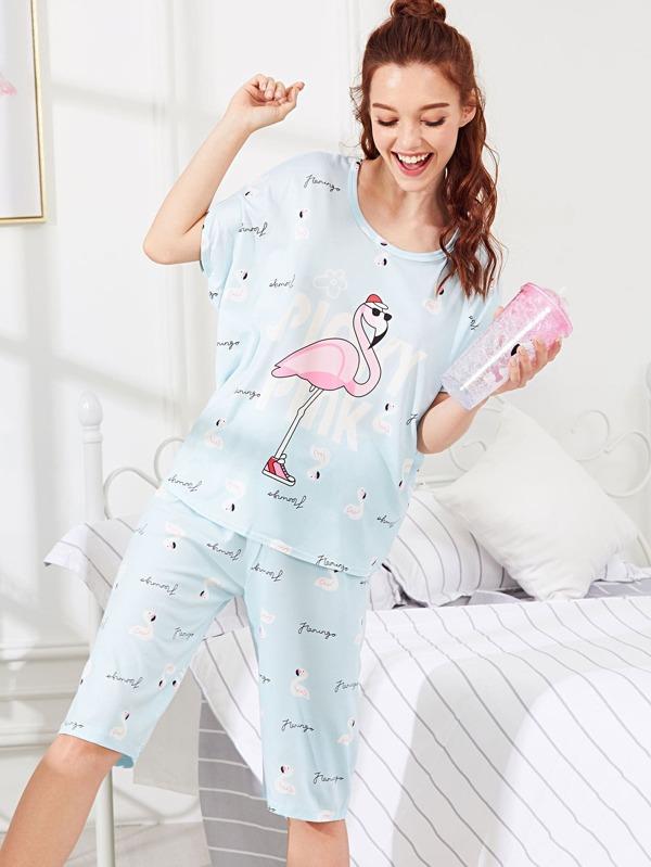 5e209d216c Flamingo Print Top & Pants PJ Set -SheIn(Sheinside)