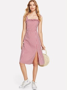 Frill Trim Split Hem Gingham Dress