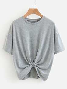 Solid Drop Shoulder Marled Tee