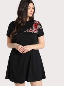 floral embroidered applique dress