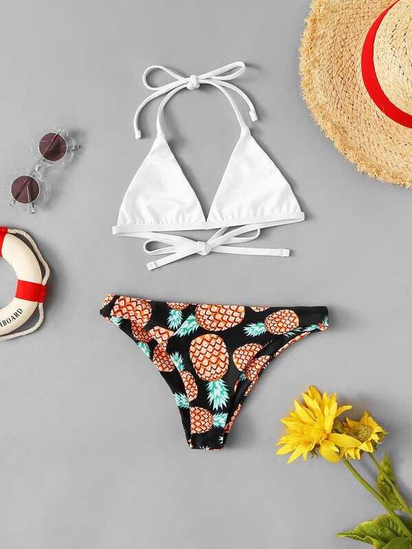 f149dc28164e Set de bikini de niñas con estampado de piña