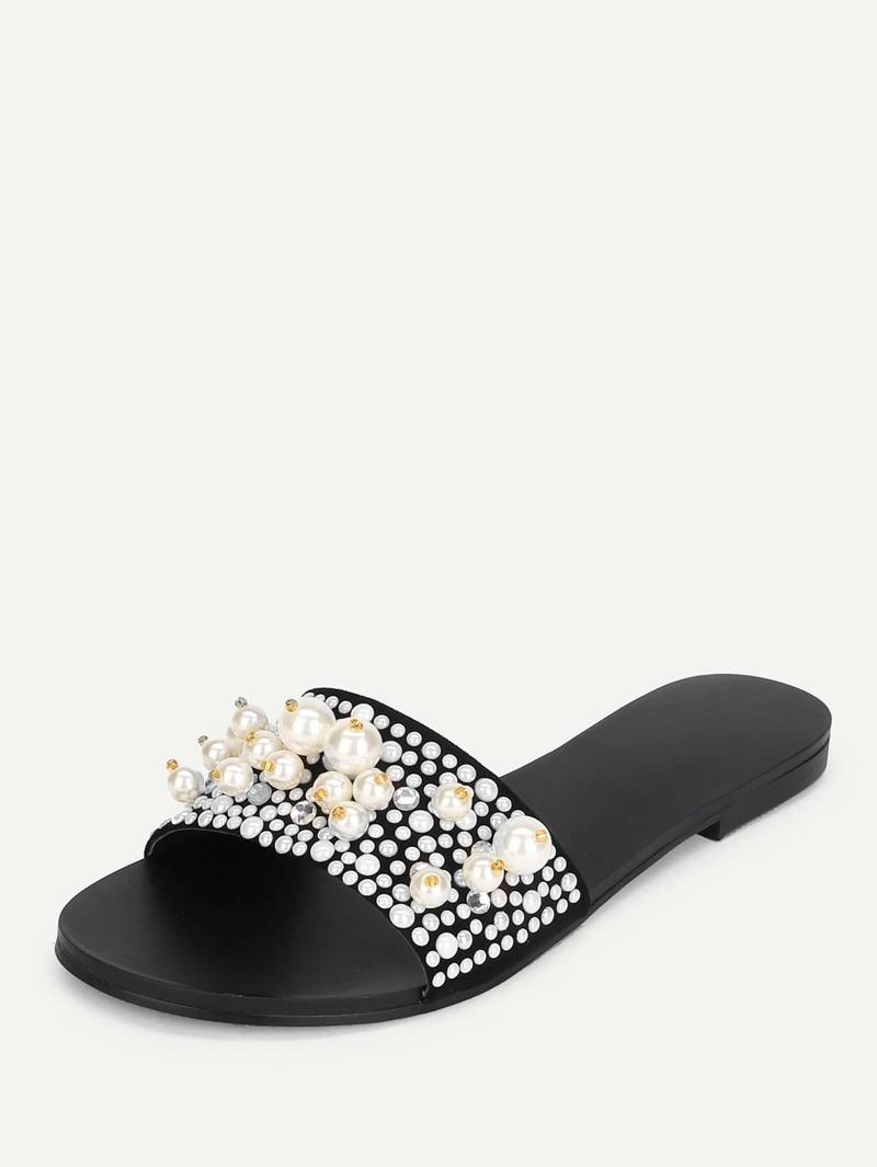 Diseño Planas De Perla Con Artificial Sandalias g6ybf7