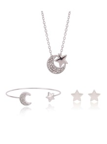 Rhinestone Moon & Star Necklace & Earrings & Bracelet Set