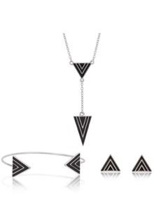 Triangle Design Stud Earrings & Cuff Bracelet & Necklace Set
