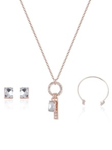 Rhinestone Geometric Design Earrings & Bracelet & Necklace Set