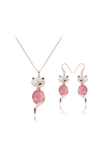 Rhinestone Fox Shaped Pendant Necklace & Drop Earrings Set