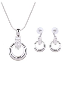 Rhinestone Detail Ring Pendant Necklace & Drop Earrings Set