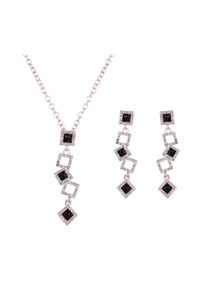 Layered Square Jewels Earrings & Necklace Set