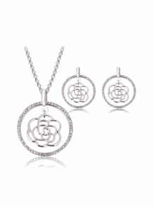 Rhinestone Round Open Flower Pendant Necklace & Earrings Set