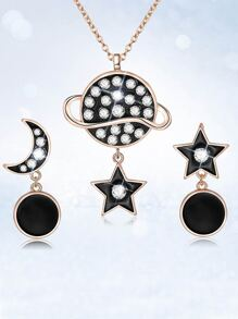 Rhinestone Moon And Star Necklace & Drop Earrings Set