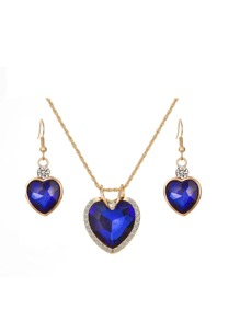Diamond Heart Pendant Drop Earrings & Necklace Set