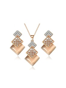 Layered Square Rhinestone Earrings & Necklace Set