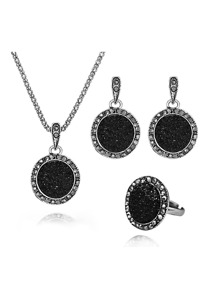 Round Rhinestone Pendant Necklace & Earrings & Ring Set
