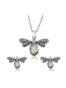 Metal Insect Pendant Necklace & Earrings Set With Stone