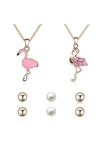 Flamingos Shaped Necklace 2pcs & Earrings 3pairs