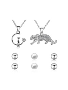 Leopard And Cat Shaped Necklace 2pcs & Earrings 3pairs