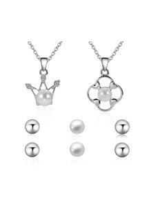 Pearl Crown Pendant Necklace 2pcs & Earrings 3pairs